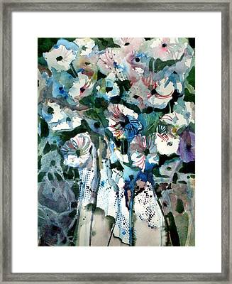 Framed Print featuring the painting Disney Petunias by Mindy Newman