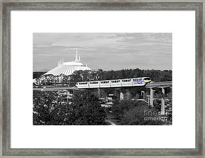 Framed Print featuring the photograph Disney World Monorail Color Splash Black And White Prints by Shawn O'Brien
