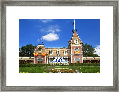 Framed Print featuring the photograph Disneyland Entrance by Mark Andrew Thomas