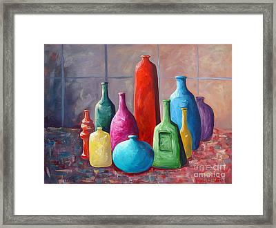 Framed Print featuring the painting Display Bottles by Phyllis Howard