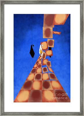 Disrupted Egg Path On Blue Framed Print