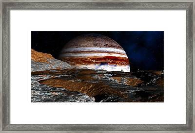 Framed Print featuring the digital art Distance Storm Clouds by David Robinson