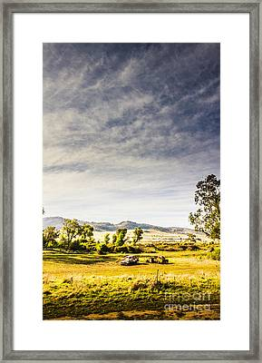 Distant Car Wrecks On Outback Australian Land  Framed Print by Jorgo Photography - Wall Art Gallery