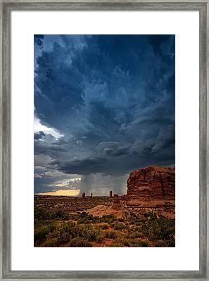 Distant Desert Storm Framed Print by Rick Berk