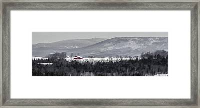 Distant Red Barn Framed Print