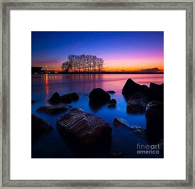 Distant Shores At Night Framed Print by Rod Jellison