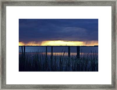 Distant Storms At Sunset Framed Print by DigiArt Diaries by Vicky B Fuller