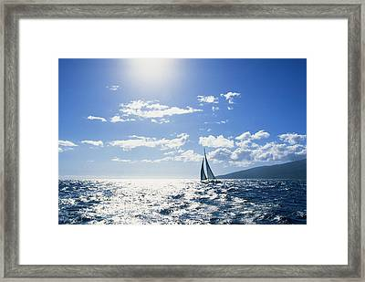 Distant View Of Sailboat Framed Print by Ron Dahlquist - Printscapes