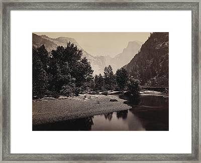 Distant View Of The Domes, Yosemite Valley, California Framed Print by Carleton Emmons Watkins