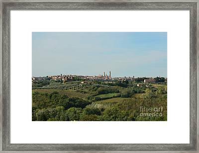 Distant Views Of Siena In Italy Framed Print by DejaVu Designs
