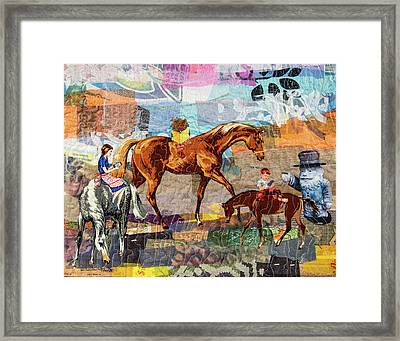 Distracted Riding Framed Print