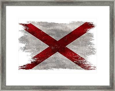 Distressed Alabama Flag Framed Print by Jon Neidert