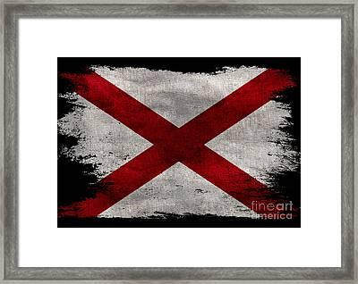 Distressed Alabama Flag On Black Framed Print by Jon Neidert