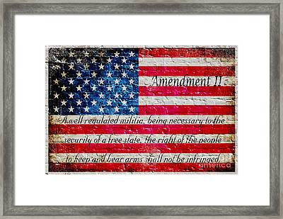 Distressed American Flag And Second Amendment On White Bricks Wall Framed Print