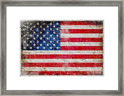 Distressed American Flag On Old Brick Wall - Horizontal Framed Print