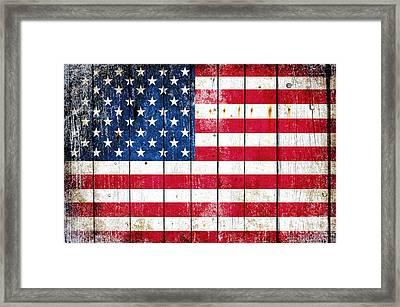 Distressed American Flag On Wood Planks - Horizontal Framed Print