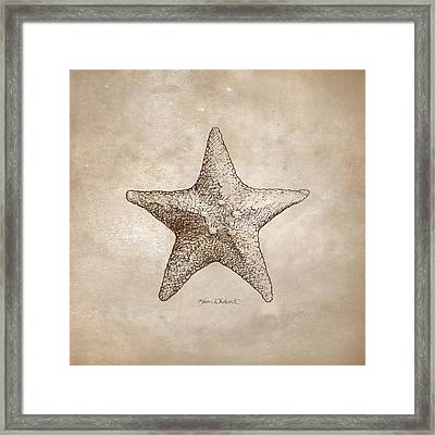 Distressed Antique Nautical Starfish Framed Print by Karen Whitworth