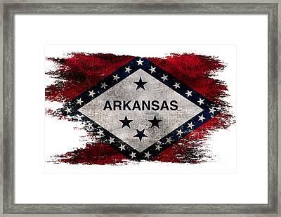 Distressed Arkansas Flag Framed Print