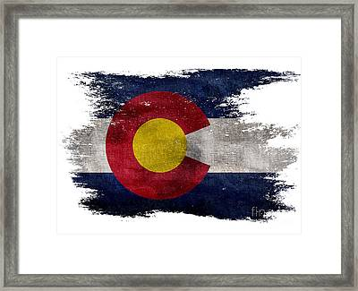 Distressed Colorado Flag Framed Print by Jon Neidert