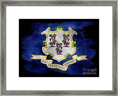 Distressed Connecticut Flag On Black Framed Print by Jon Neidert
