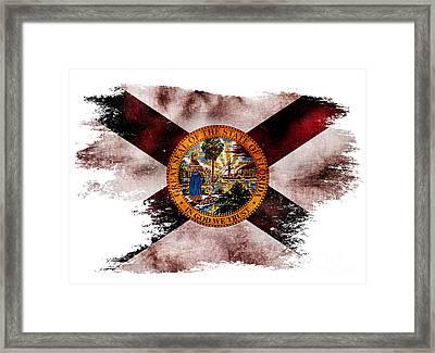 Distressed Florida Flag Framed Print by Jon Neidert