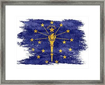 Distressed Indiana Flag Framed Print