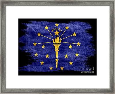 Distressed Indiana Flag On Black Framed Print
