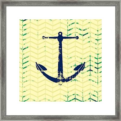 Distressed Navy Anchor Framed Print by Brandi Fitzgerald