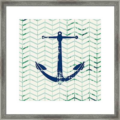 Distressed Navy Anchor V2 Framed Print by Brandi Fitzgerald