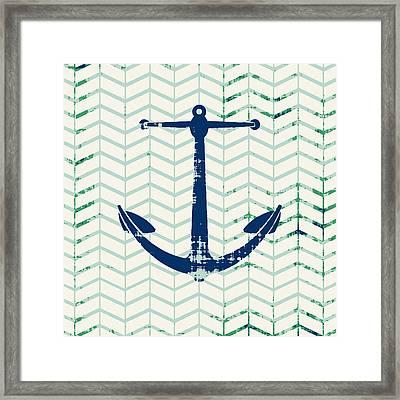 Distressed Navy Anchor V2 Framed Print