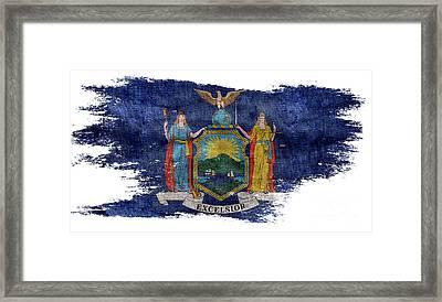 Distressed New York Flag Framed Print by Jon Neidert
