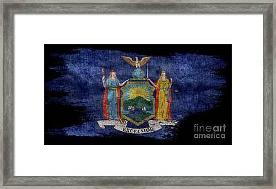 Distressed New York Flag On Black Framed Print by Jon Neidert