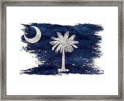 Distressed South Carolina  Flag Framed Print