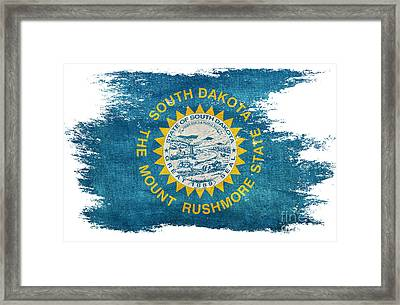 Distressed South Dakota Flag Framed Print