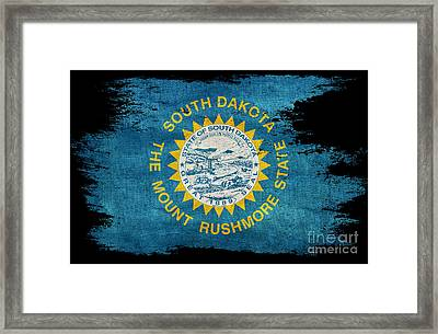 Distressed South Dakota Flag On Black Framed Print