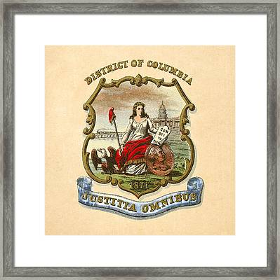 District Of Columbia Historical Coat Of Arms Circa 1876 Framed Print by Serge Averbukh