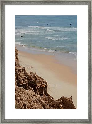 Ditch Plains Surfers Framed Print by Christopher Kirby