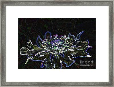 Ditigal Abstract Art Glowing Flower Framed Print