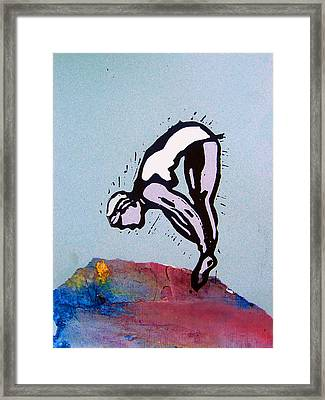 Dive - Warm Sea Framed Print by Adam Kissel