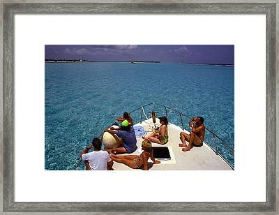 Diveboat At Little Cayman Framed Print by Carl Purcell