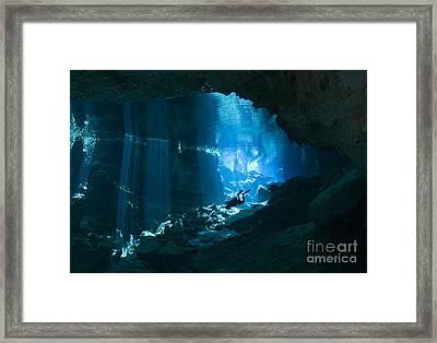 Diver Enters The Cavern System N Framed Print