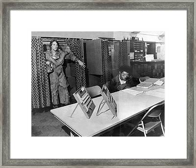 Diver Takes Time Off To Vote Framed Print
