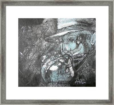 Divine Blues Framed Print by Anne-D Mejaki - Art About You productions