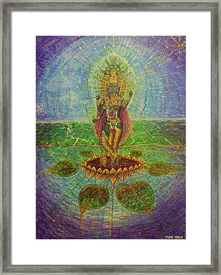 Divine Effulgent Krishna With Four Arms Framed Print