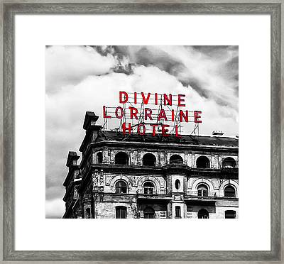 Divine Lorraine Hotel Marquee Framed Print by Bill Cannon