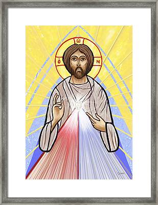 Divine Mercy Icon Style Framed Print by Dave Luebbert