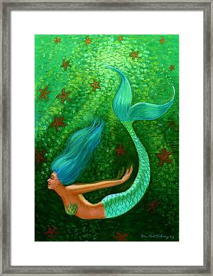 Diving Mermaid Fantasy Art Framed Print