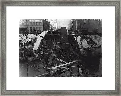 Division St Bridge Collapse - Spokane 1915 Framed Print