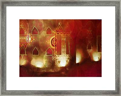 Diwali Card Lamps And Murals Blue City India Rajasthan 2g Framed Print
