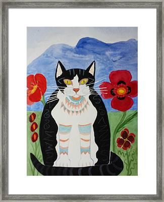 Diwali Tux Cat Framed Print